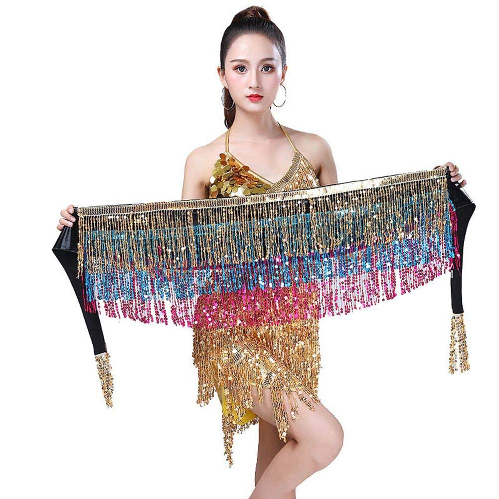 dd62d3e20dd1 Hongyuangl Ceinture écharpe Danse Orientale Jupe Danse du Ventre Hanche  Pailletée avec Gland  Amazon.fr  Vêtements et accessoires