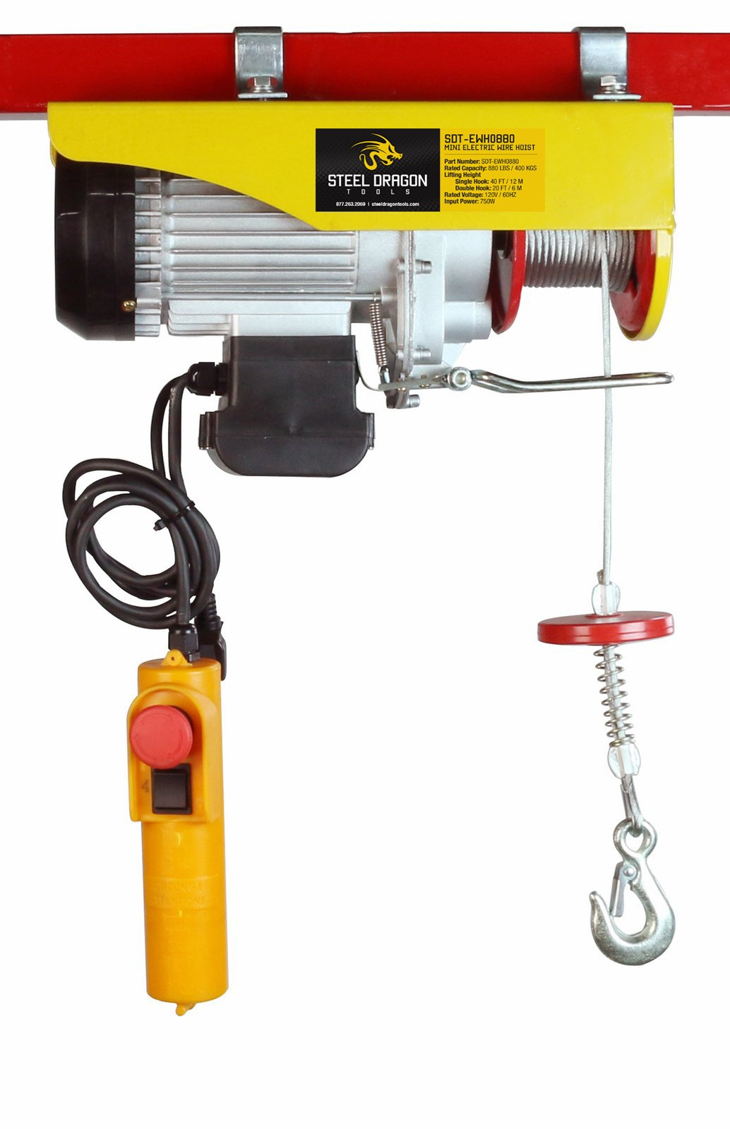 Steel Dragon Tools 880 LBS Mini Electric Wire Cable Hoist Overhead Crane Lift with Remote Control
