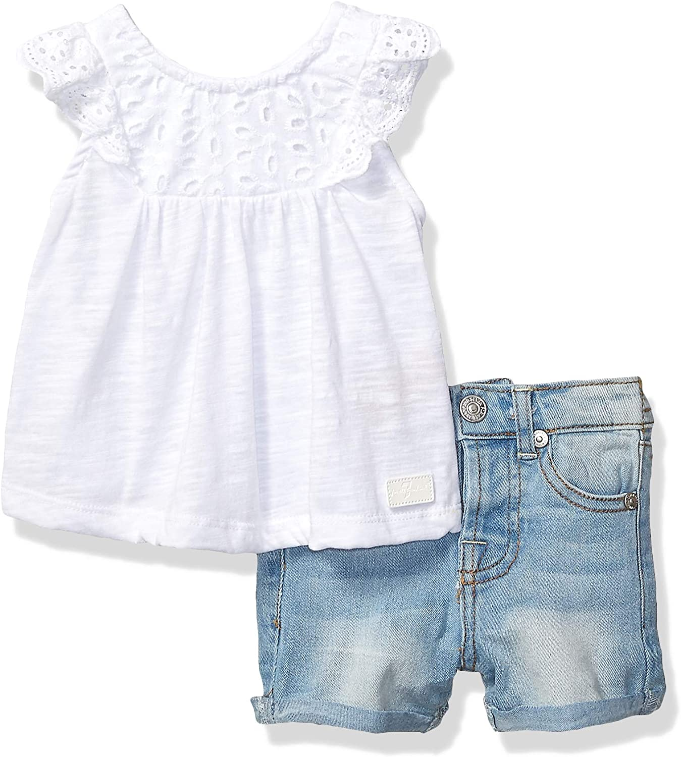 7 For All Mankind Girls Toddler Sleeve Jersey Fashion Top and Denim Short Set