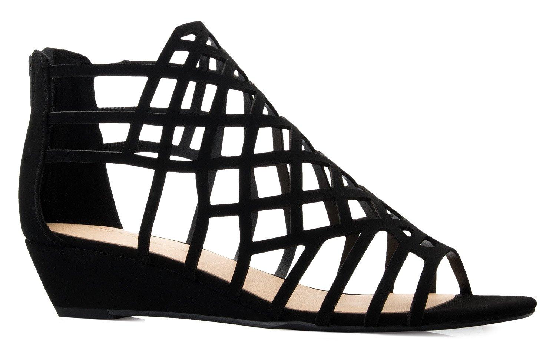 OLIVIA K Women's Strappy Wedge Sandals - Peep Open Toe Zip Closure - Kitten Low Heel