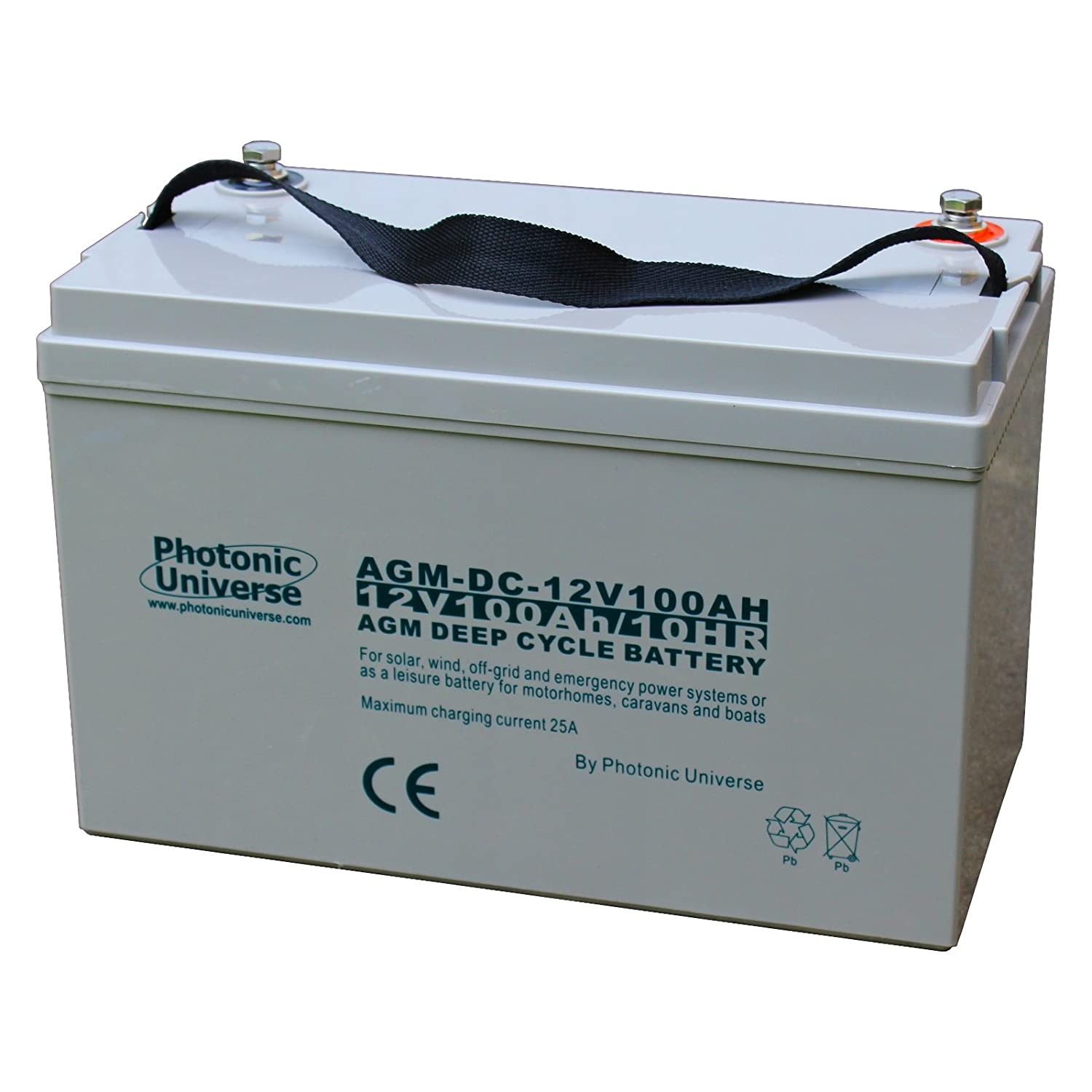 100Ah 12V Photonic Universe deep cycle AGM battery for a motorhome, caravan, campervan, boat (leisure battery), solar, wind UPS or back up/off-grid power systems AGM100AH