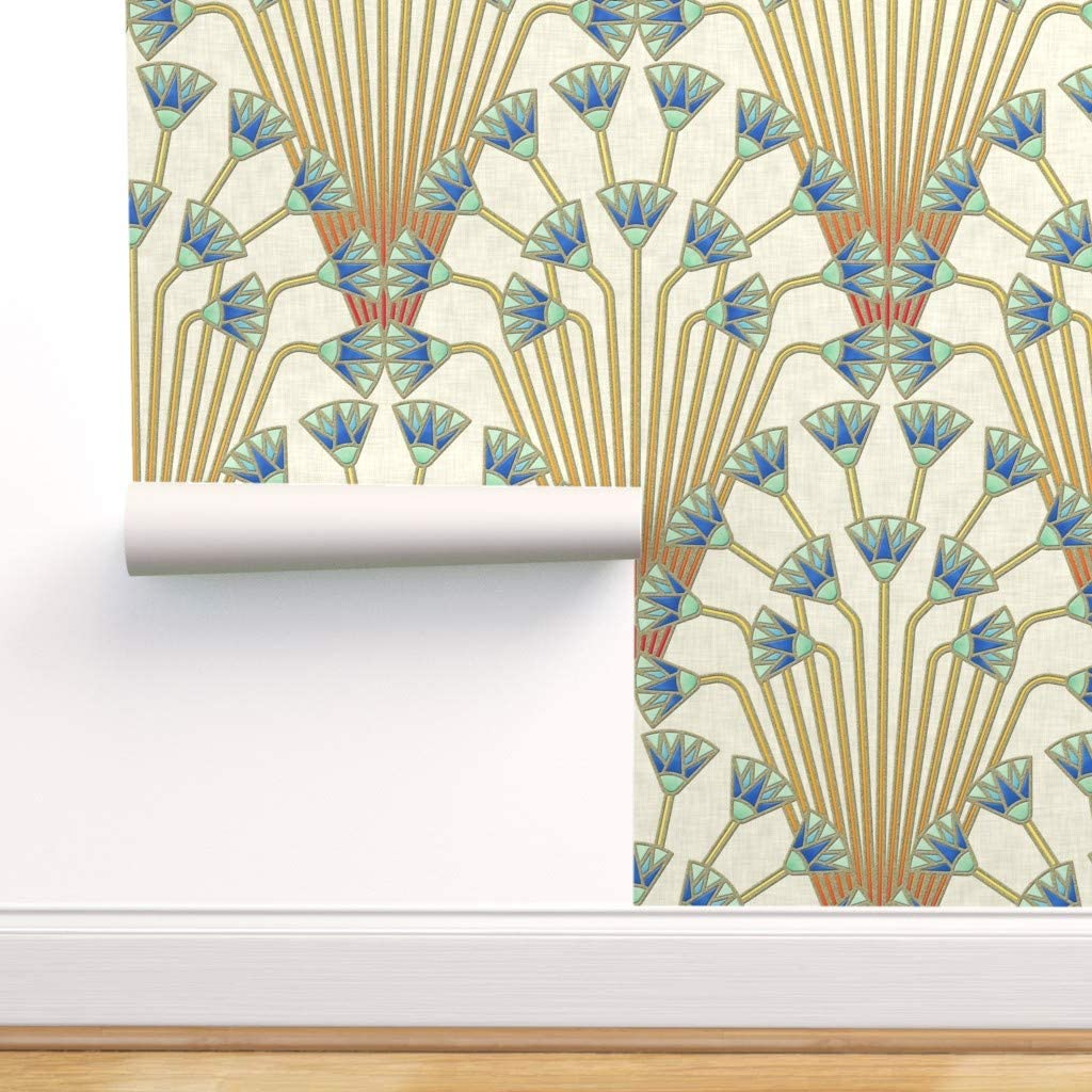 Spoonflower Peel and Stick Removable Wallpaper, Art Deco Large Scale Floral Decor Flower Papyrus Egyptian Print, Self-Adhesive Wallpaper 24in x 144in Roll