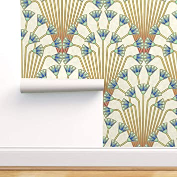 Peel-and-Stick Removable Wallpaper Navy Art Deco Scales Blue White Dots Ombre