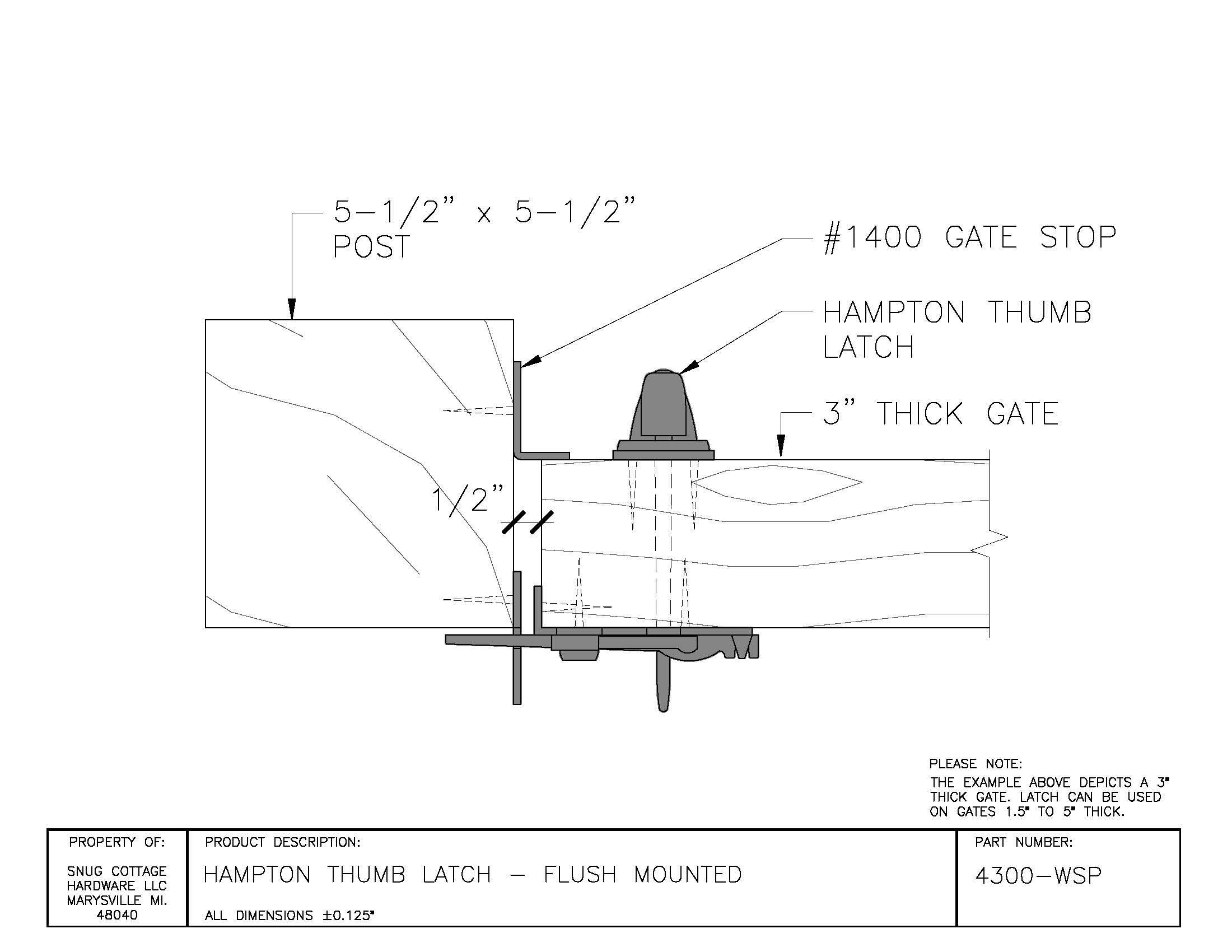Hampton Thumb Latch with Padlock Eyes (Black Polyester Powder Coat)