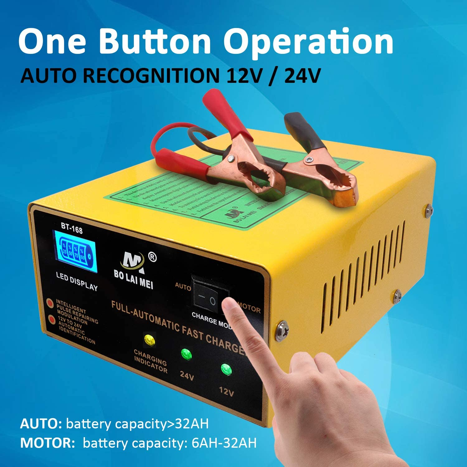 XDDXIAO Chargeur De Batterie De Voiture Enti/èrement Automatique 110V /À 220V /À 12V 6A Intelligent Puissance Rapide Charge Wet Dry Lead Acid Digital LCD Display,Jaune