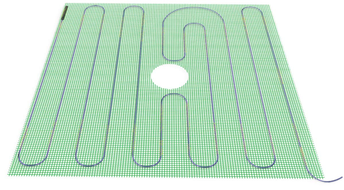 WarmlyYours TempZone Electric Floor Heating Shower Mat, 3.6 sq. ft. (16'' x 32'')