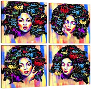African American Wall Art Black Girl Picture Afro Woman Art Paintings 4 Pieces Colorful Canvas Painting Pretty Girl Poster Print Graffiti Style Artwork for Bedroom Decor Framed Ready to Hang - 12x12inchx4