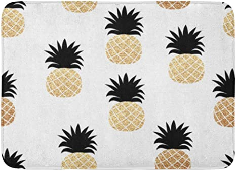 "24x16/"" Beach Pineapple Non-Slip Xmas Decor Bath Door Carpet Bathroom Mat Rug"