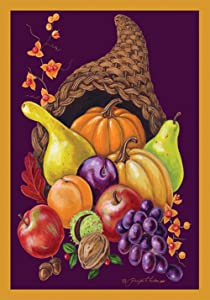 Toland Home Garden Cornucopia 28 x 40 Inch Decorative Colorful Fall Autumn Harvest Fruit Thanksgiving House Flag