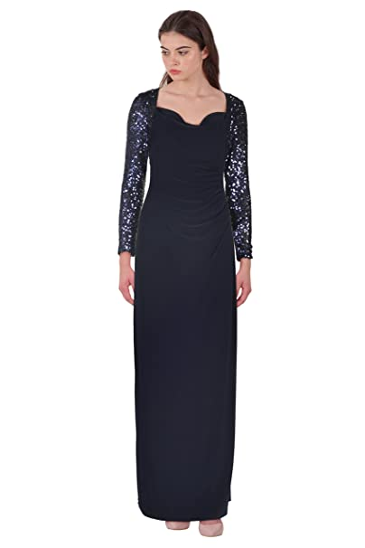 5faf48ed6f3d6 Lauren Ralph Lauren Navy Women s Sequin Ball Gown Blue 8 at Amazon Women s  Clothing store