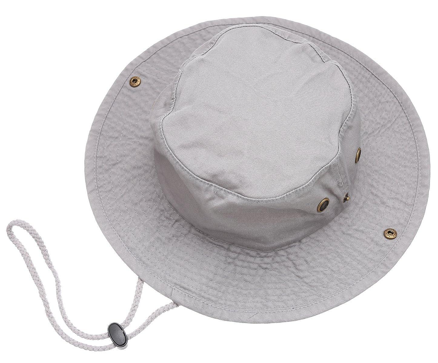 Summer Outdoor Boonie Hunting Fishing Safari Bucket Sun Hat with adjustable  strap(Grey c39662370ce9