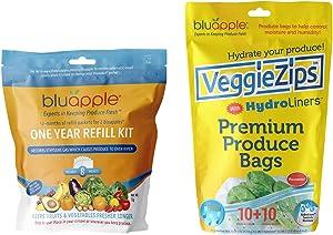 Bluapple Refill and VeggieZips Freshness Pack: One-Year Refill Kit and VeggieZips 10-Pack Humidity Control Bags Green Living Food Saver Reusable Keep Produce Fresh Longer
