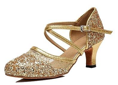 838425879cf TDA Women s Ankle Strap Round Toe Sequins Mesh Gold Synthetic Tango  Ballroom Salsa Latin Dance Wedding