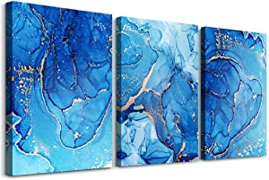 Family Wall Decor For Living Room Canvas Wall Art For Bedroom Modern Wall Decorations For Office Blue Abstract Art Bathroom Wall Painting Fashion Abstract Wall Pictures Artwork Home Decoration 3 Piece