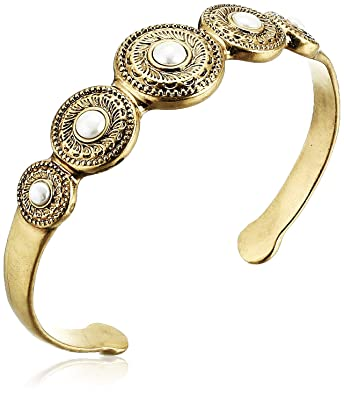 b82c67a88c7 Amazon.com: Lucky Brand Women's Etched Coin Pearl Gold Cuff Bracelet, Gold,  One Size: Jewelry