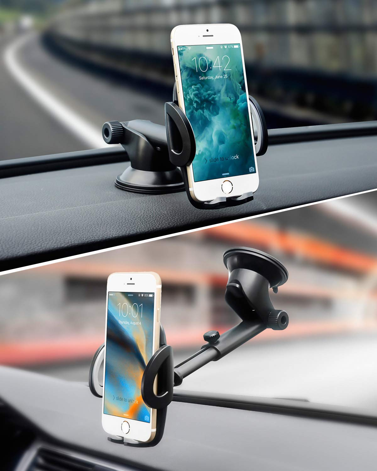 Easy One Touch BERIS Phone Holder for Car Strong Sticky Suction Cup Car Mount Phone Holder for iPhone X XS Max XR 8 Plus Samsung Galaxy /& Other Smartphone. Dashboard Windshield Car Phone Holder