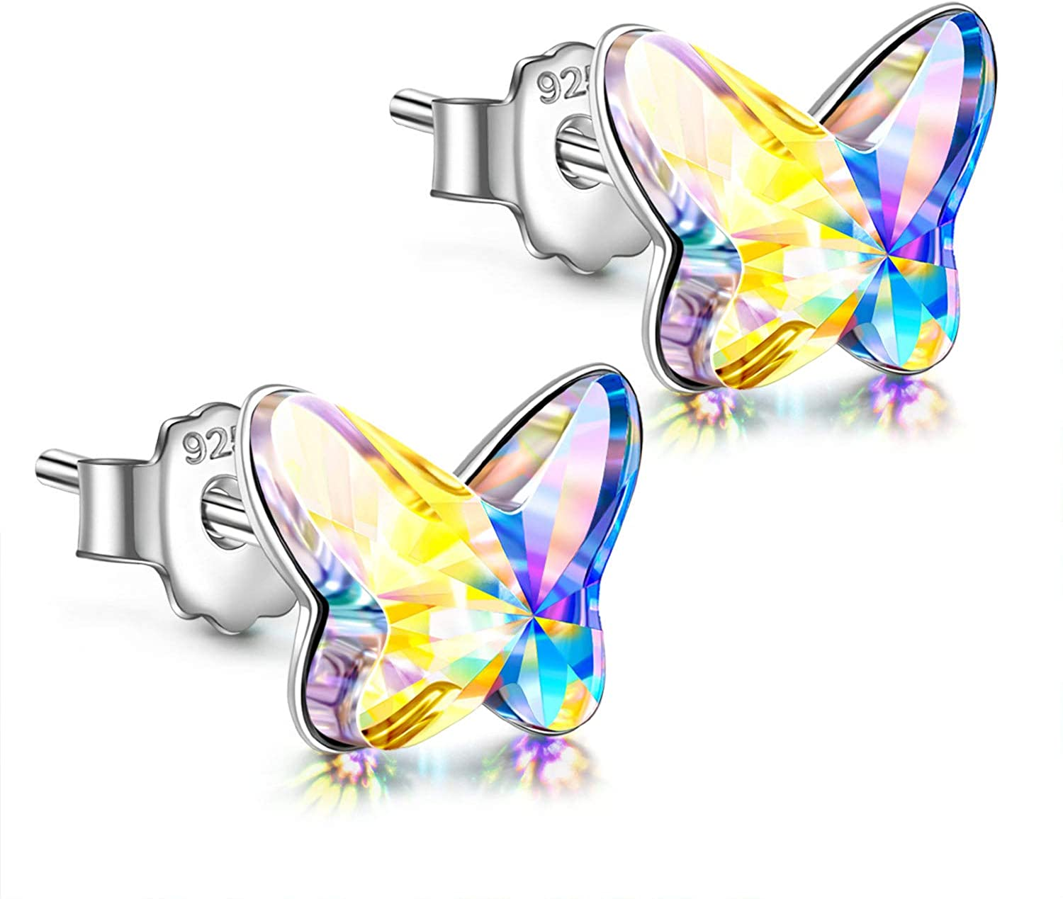 ANGEL NINA Girls Earrings, Gifts for Women 925 Sterling Silver Butterfly Stud Earrings Hypoallergenic Made with Austria Crystals Jewelry Mothers Day Birthday Gifts with Jewelry Box