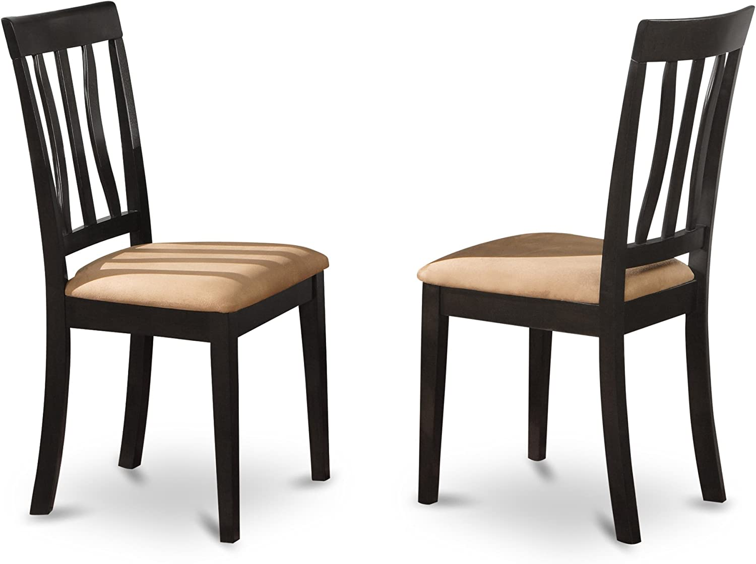 Set Of 2 Antique Dining Room Microfiber Upholstered Chairs In Black Finishes
