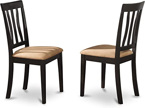 Wooden Imports Furniture Set of 2 Antique Dining Room Microfiber Upholstered Chair