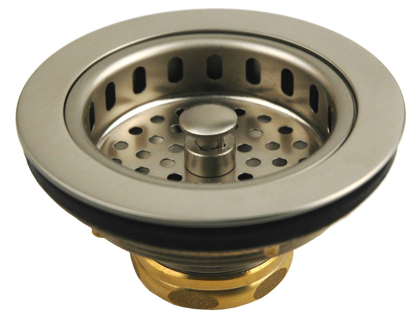 Solid Brass Duo Basket Strainer, for Kitchen Sinks (Satin Nickel ...