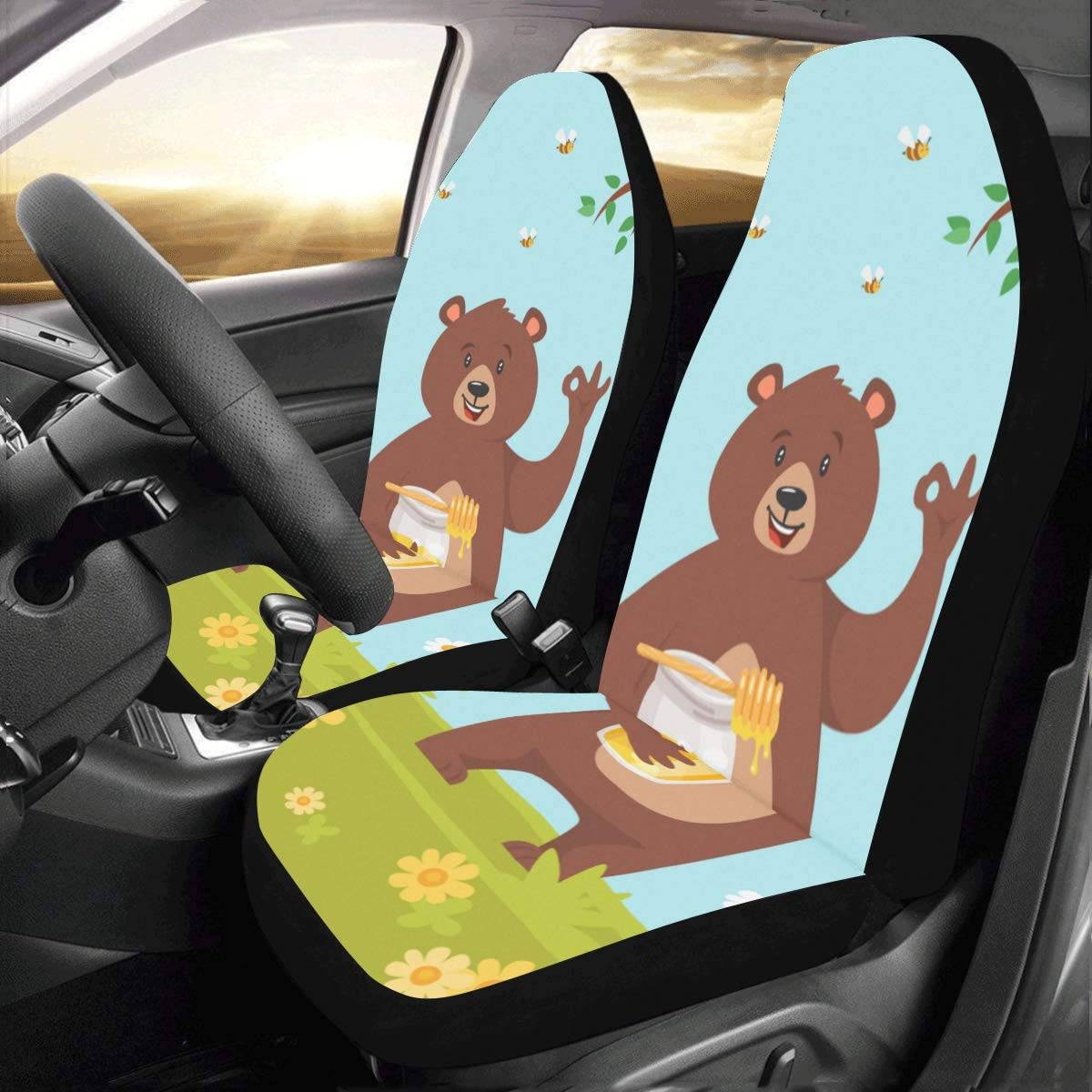Amazon Com Girl Car Seat Cover Cute Bear Eating Sweet Honey Universal Fit Auto Car Seat Covers Protector For Auto Truck Suv Vehicle Women Lady 2 Front Suv Seat Covers Baby