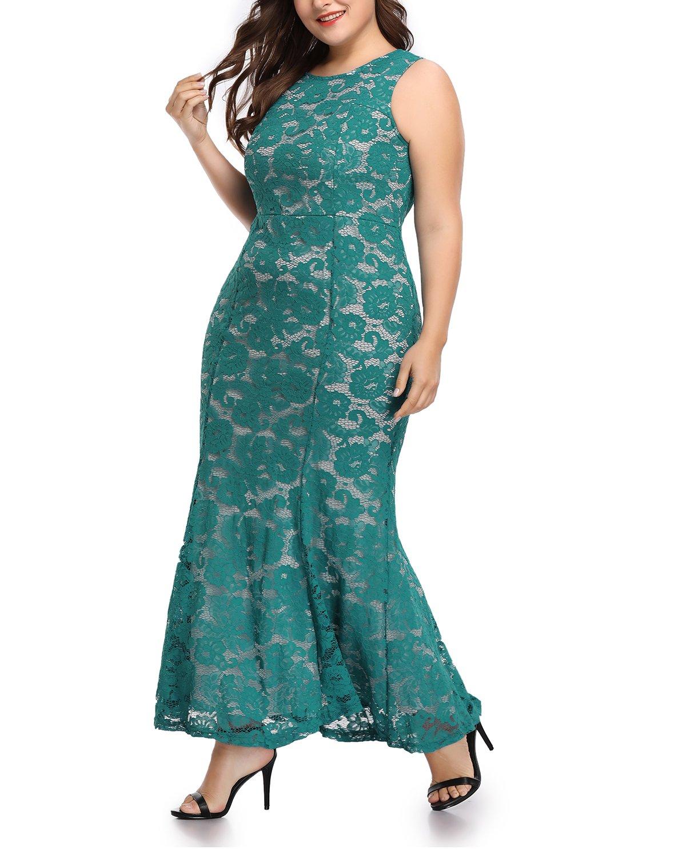 Women's Plus Size Floral Lace Fishtail Bridesmaid Wedding Formal Maxi Dress Blue 18W