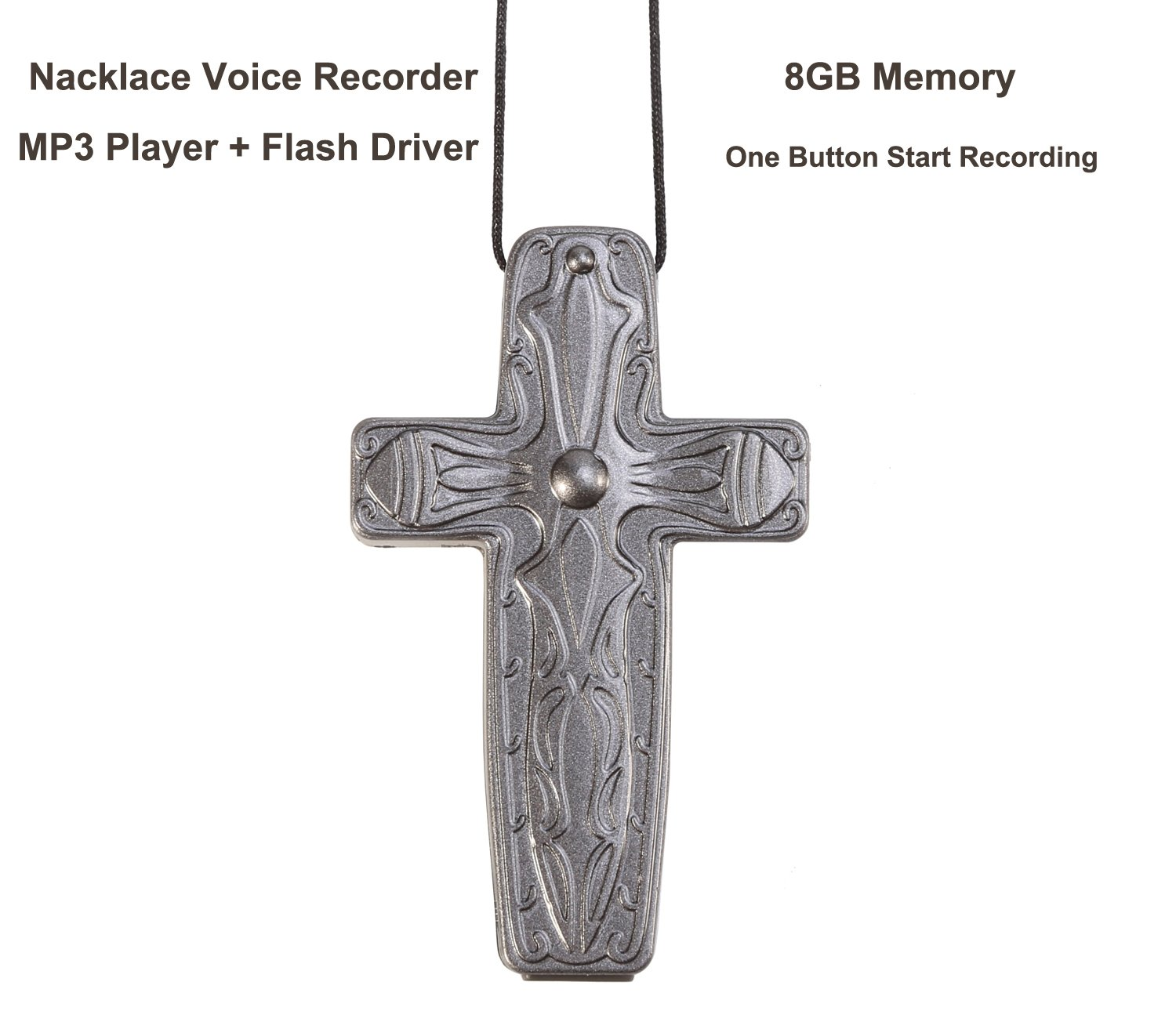 eoqo Necklace style Digital Audio Voice Recorder with USB Flash Driver and MP3 Player with 8GB memory