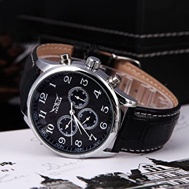 EverTrust(TM)Black White Jaragar Automatic Mechanical Analog Black Dial 6 Hands Men Watches Sport Leather Wristwatches 12/24 Hours Display - - Amazon.com