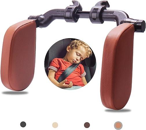 Rajvia Kopfstütze Autositze Mit Teleskopstange Und Schiebebaren Clips Seitliches Kopfstützkissen Aus Leder Für Kinder Erwachsene Gelb Braun Auto