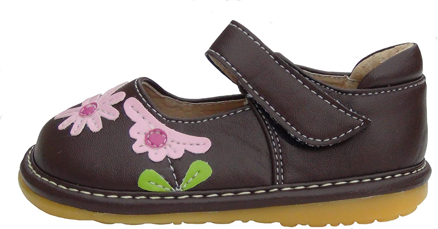 Girls Squeaky Shoes First Walker Shoes Black /& Pink Leather Flowers Size 3-8 NEW
