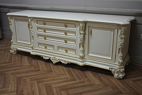LouisXV barocco TV cassettiera in stile veneziano bianco crema ...