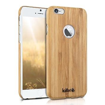 kalibri Funda para Apple iPhone 6 / 6S - Carcasa Trasera Ultra Delgada de bambú - Cover Protector marrón Claro