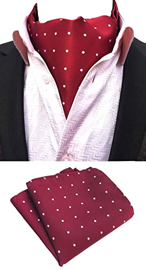 5bfcc4611c24 Amazon.com: MOHSLEE Mens Red Polka Dots Woven Self Cravat Tie Casual Ascot  Pocket Square Set: Home & Kitchen