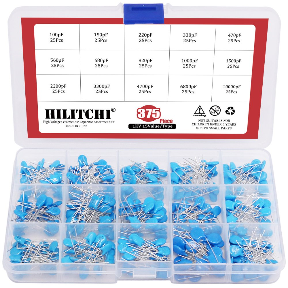 Hilitchi 1KV/100pF to 10000pF High Voltage Dip Ceramic Capacitor Assortment Kit - [375-Pcs 15 Value]