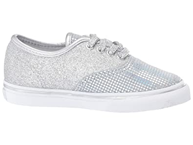 5ebb189533b6 Vans VN-0A38E7UJ0: Boys Authentic Metallic Glitter Silver Sneakers (4 M US  Toddler