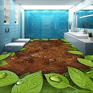 Svghfk Tapete Wandbild Grun Blatter Wassertropfen Badezimmer Kuche