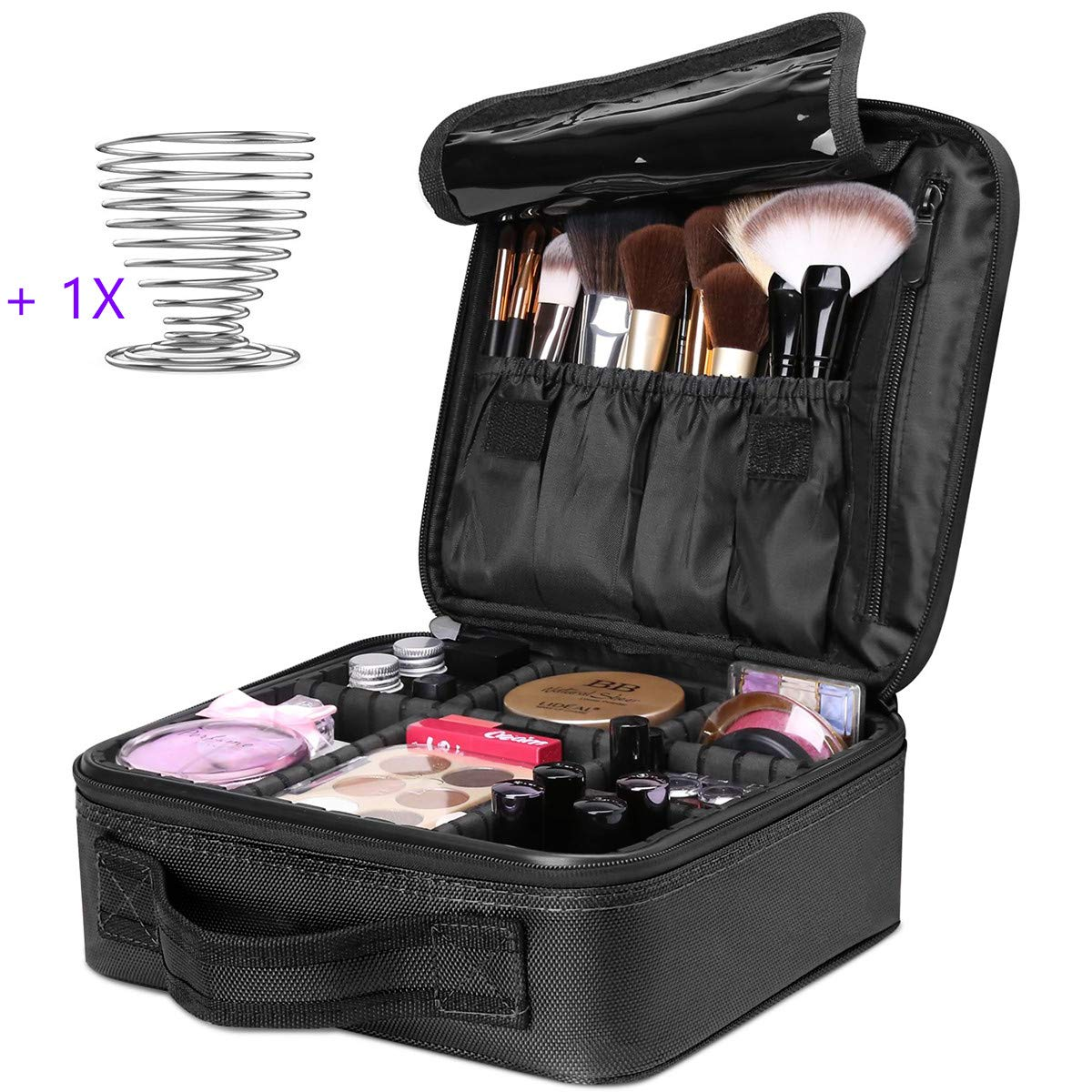 Travel Makeup AUNORM Train Case Makeup Cosmetic Case Organizer Portable Artist Storage Bag with Adjustable Dividers for Cosmetics Makeup Brushes Toiletry Jewelry Digital accessories Black