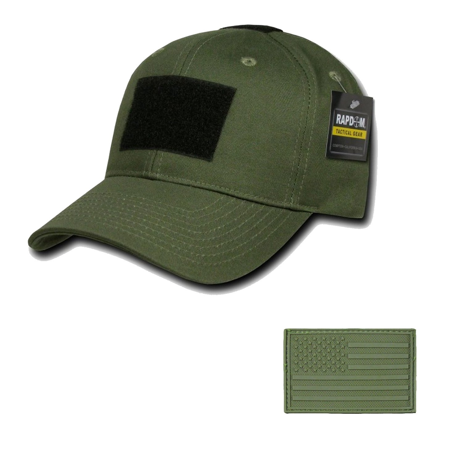 RAPDOM Genuine Tactical Constructed Ball Operator Cap Olive Caps with Free Patch (Olive, USA Flag Olive Patch) by RAPDOM