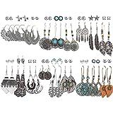 36 Pairs Fashion Drop Dangle Earrings Set for Women Girls Vintage Bronze Statement Bohemian Stud Earrings with Pearl Hollow L