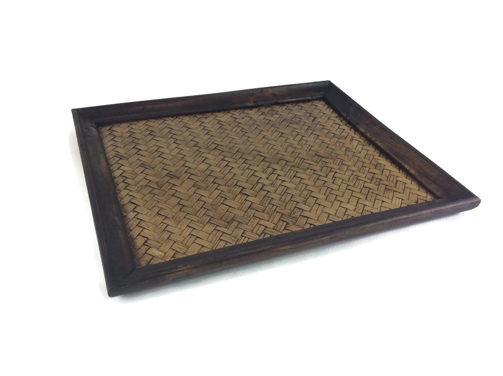Tray Serving Handmade Bamboo Oriental Wood Vintage Restaurant Wooden Handcraft 10 x 12 Inches