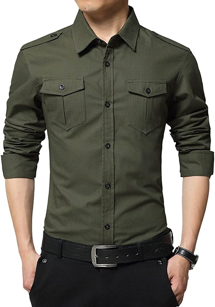 Camisas para Hombres Camisa Militar Casual de Manga Larga: Amazon.es: Ropa y accesorios