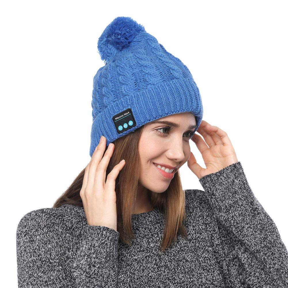 Wireless Bluetooth Cap Headphone Headset Speaker Toque Mic Beanie Hat Warm Black