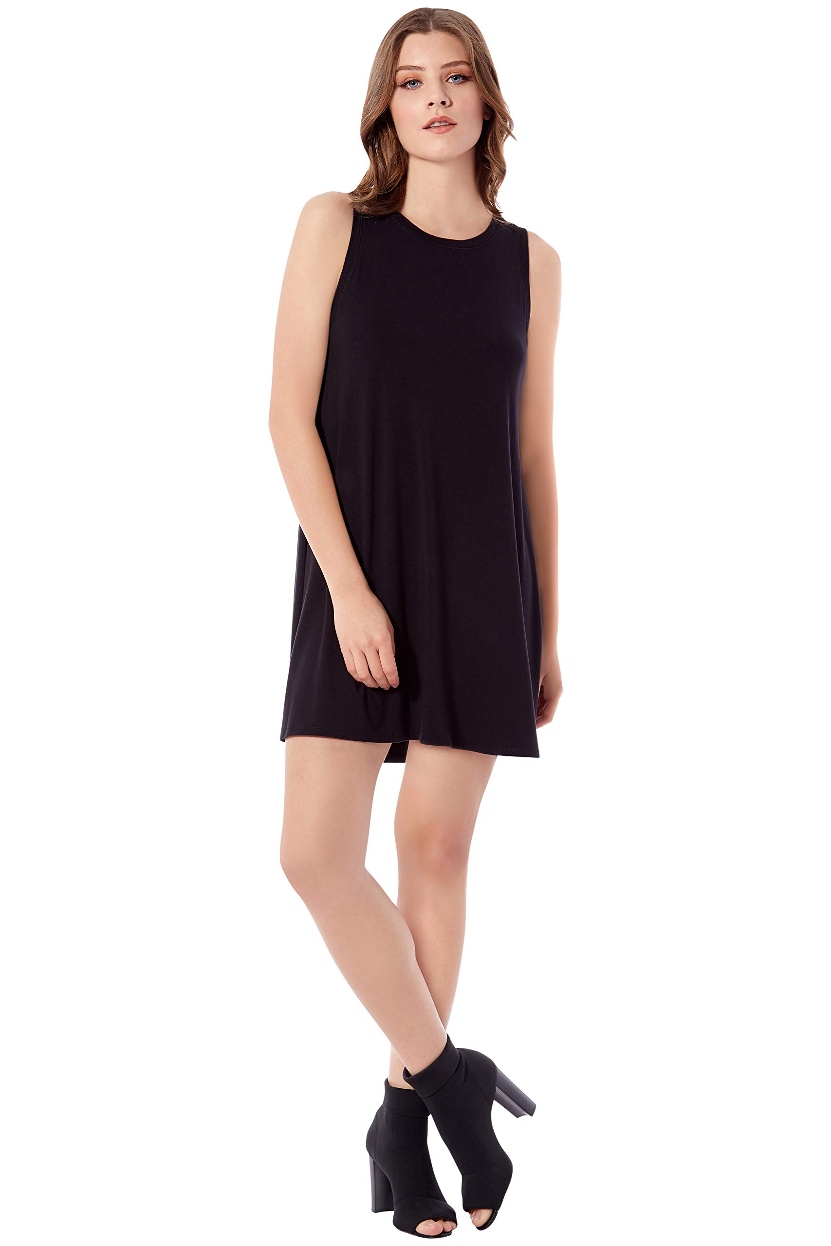 Rohb by Joyce Azria Seville Sleeveless Mini Swing Dress (Black) Size S