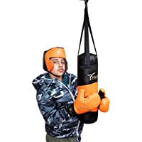 Kids Junior Boxing Kit with Punching Bag Gloves & Head Guard, Small Upto 8 Years (18 Inches – Orange/Black)