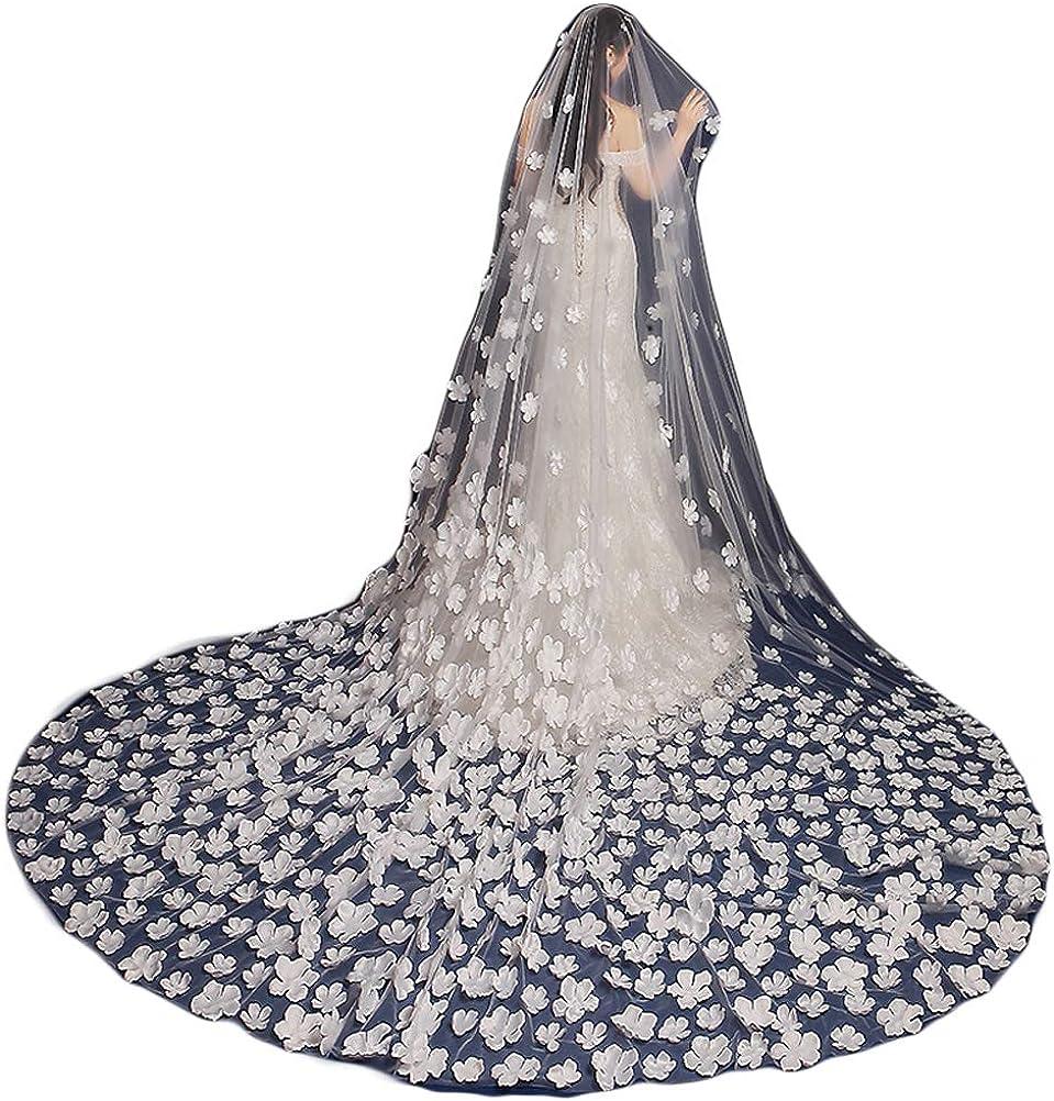 Fenghuavip 1T 3M 4M Cathedral Wedding Veils for Bridals 3D Flower Petals Veils Free Comb