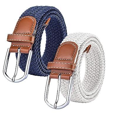 Chalier 2x Ceintures Femme Homme Elastiques Belt Tressées Extensible pour  Jeans Robe Pantalons avec Boucle 0f026443f17