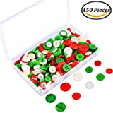 Coobey 200 g /450 Pieces Christmas Craft Buttons Handmade Sewing Buttons with Plastic Storage Box for DIY Sewing Crafting, Assorted Colors and Sizes