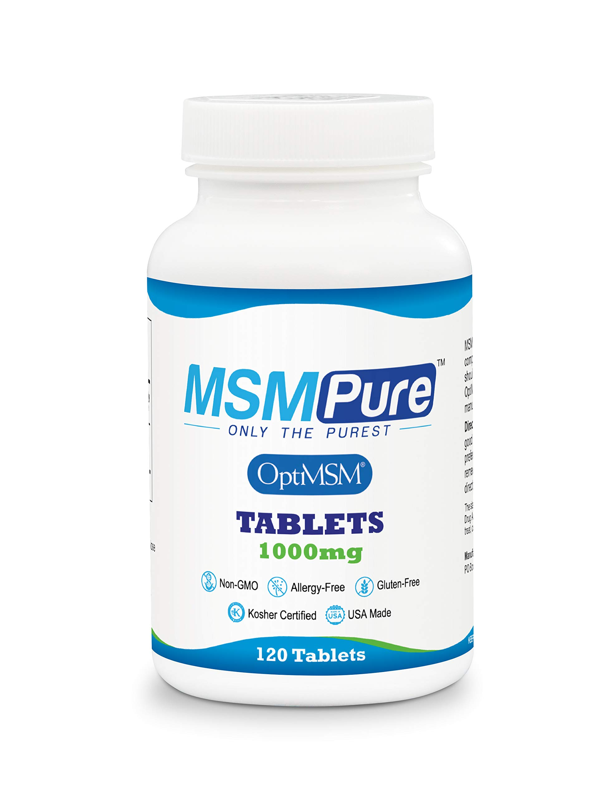 Kala Health MSMPure Tablets, 1000 mg, Pure MSM Organic Sulfur Supplement, Made in USA, 120 Count