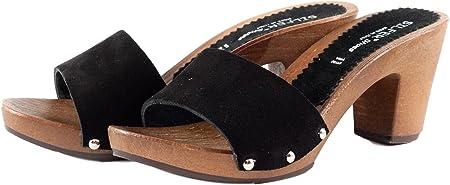 Silfer Shoes - Zócalo de piel de ante, color negro, art. Noemi - Ideal también para estacionar en casa