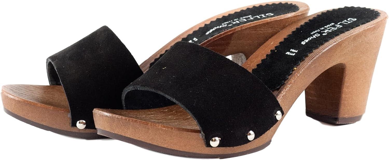 Silfer Shoes Zuecos de Piel para Mujer Negro Negro